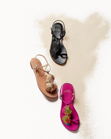 Jabow Flat Tassel Pompom Sandal