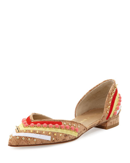 Sugardots Embellished Cork d'Orsay Flat, Natural