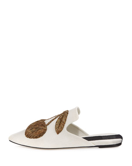 Ciliegia Embroidered Mule, Cream/Gold