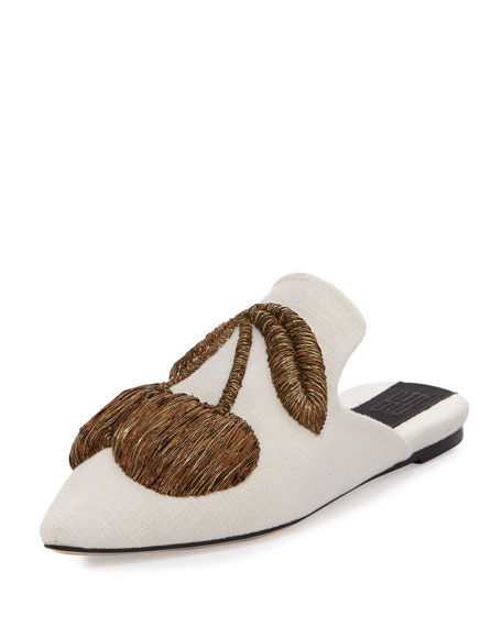 Sanayi313 Ciliegia Embroidered Mule, Cream/Gold
