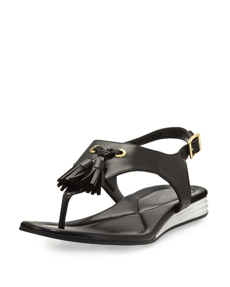 Cole Haan Rona Grand Tassel Thong Sandal, Black
