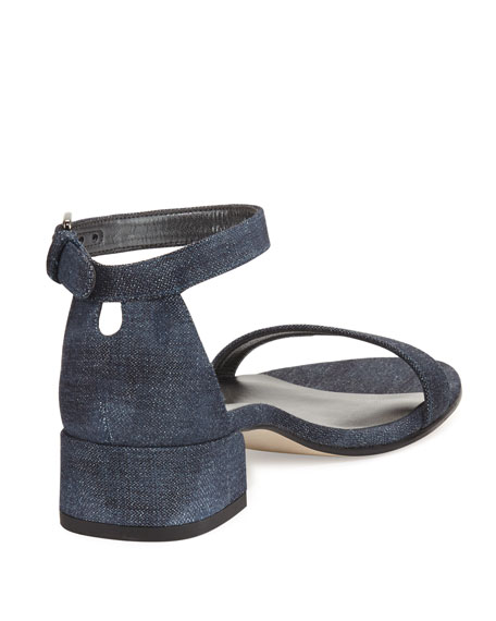 Nudistjune 40mm Denim Ankle-Wrap Sandal
