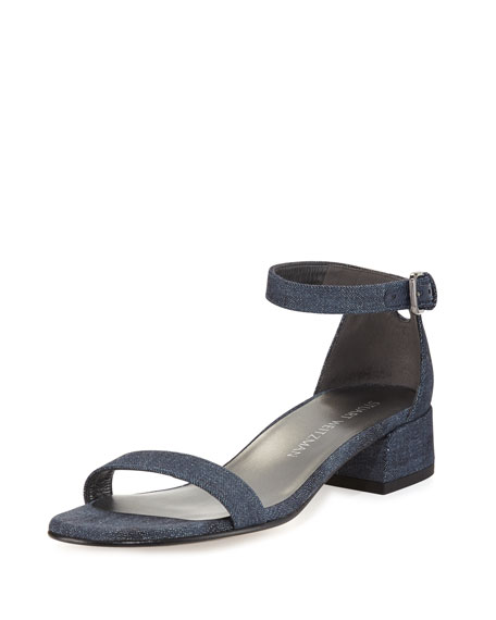 Stuart Weitzman Nudistjune 40mm Denim Ankle-Wrap Sandal