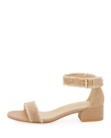 Nudistchains Canvas Ankle-Wrap Sandal, Tan