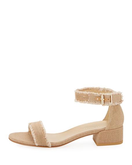 Nudistchains Canvas Ankle-Wrap Sandal, Tan