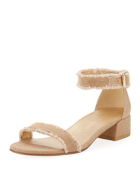 Stuart Weitzman Nudistchains Canvas Ankle-Wrap Sandal, Tan