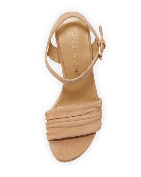 Sundraped Suede Platform Wedge Sandal, Med. Beige