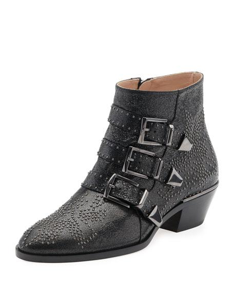 Chloe Suzanna Studded Buckle Boot, Black