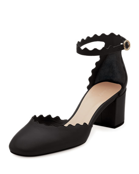 Chloe Lauren Scalloped 40mm Pump, Black