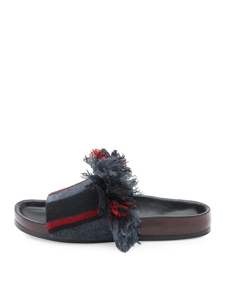 Kerenn Patterned Flat Slide Sandals, Black/Charcoal