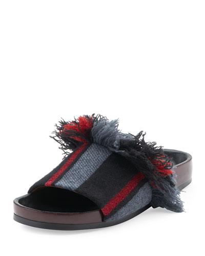 Kerenn Patterned Flat Slide Sandals, Black/Charcoal