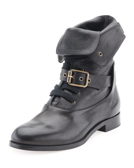Chloe Otto Lace-Up Buckle Ankle Boot, Black