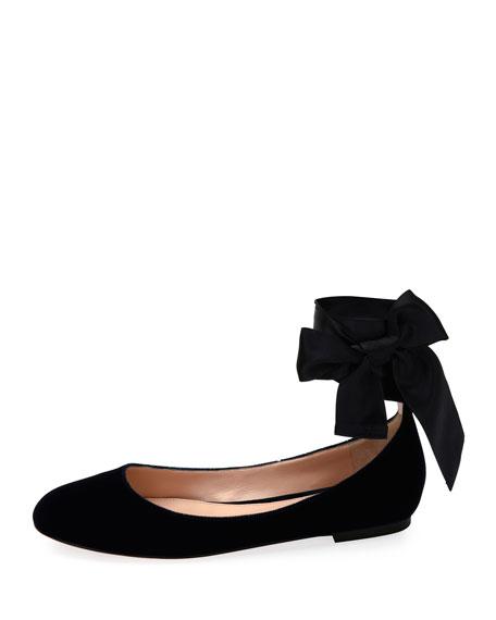 Velvet Ankle-Wrap Ballet Flats, Black