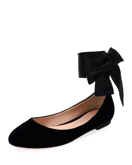 Velvet Ankle-Wrap Ballerina Flat, Black
