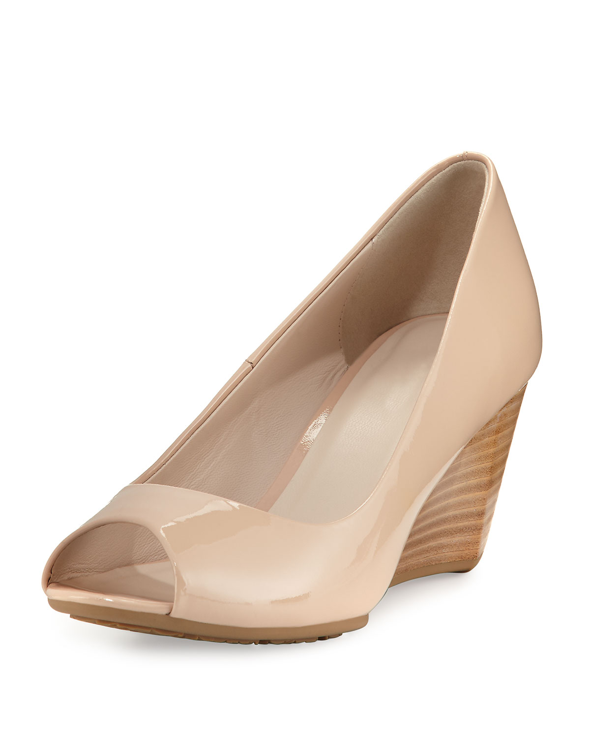 8f171abedf Cole Haan Sadie Grand Patent Leather Wedge Pump, Nude | Neiman Marcus