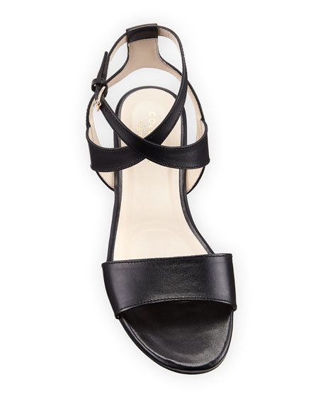 Fenley Grand Ankle-Wrap Flat Sandal, Black
