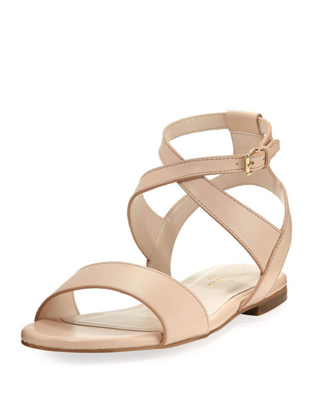 Cole Haan Fenley Grand Ankle-Wrap Flat Sandal, Nude