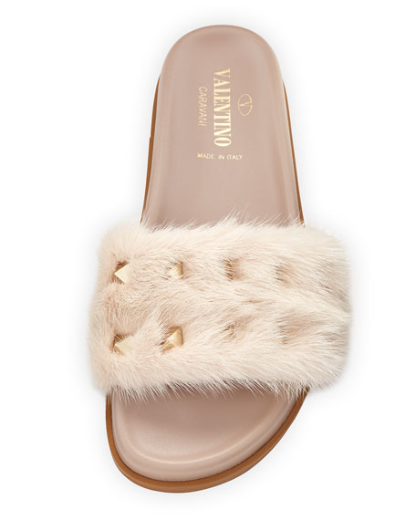 Rockstud Flat Fur Slide Sandals