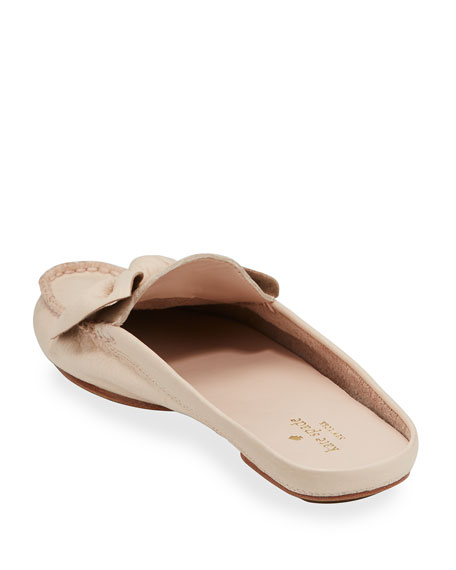 mallory bow flat mule loafer, blush