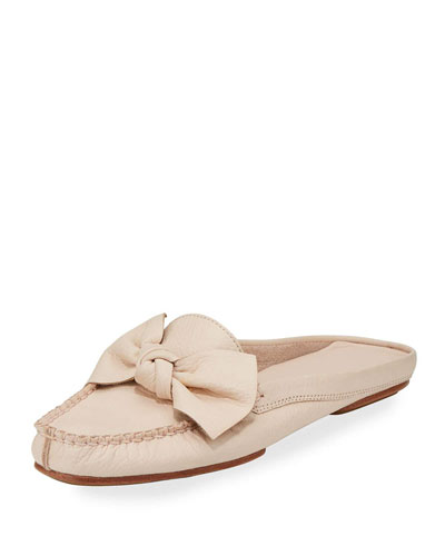 mallory bow flat mule loafer, blush