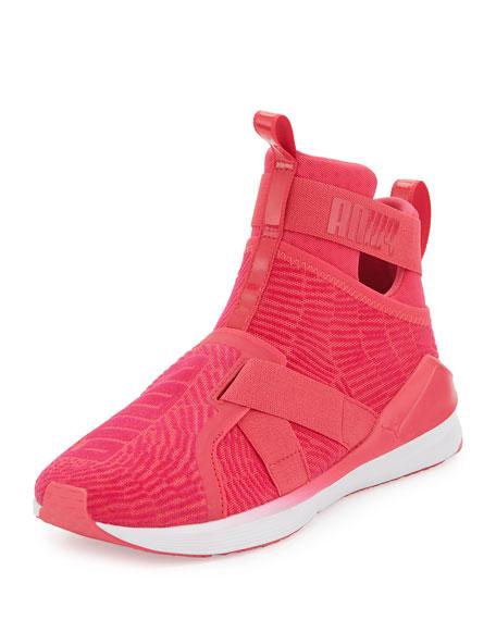 Puma Fierce High-Top Strap Flocking Sneaker, Pink