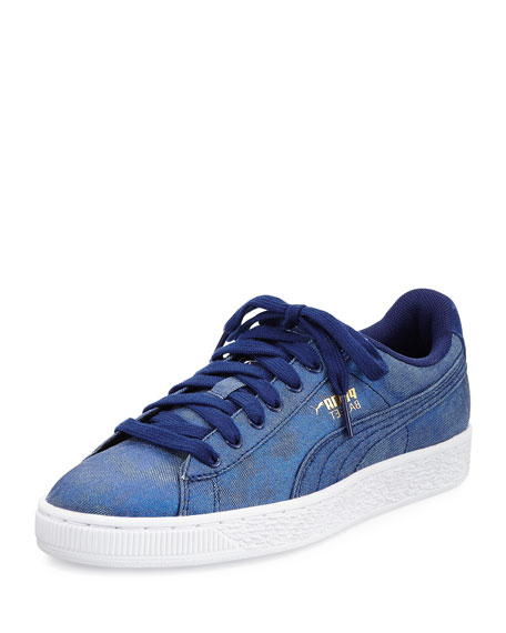 Puma Basket Iridescent Denim Sneaker, Blue