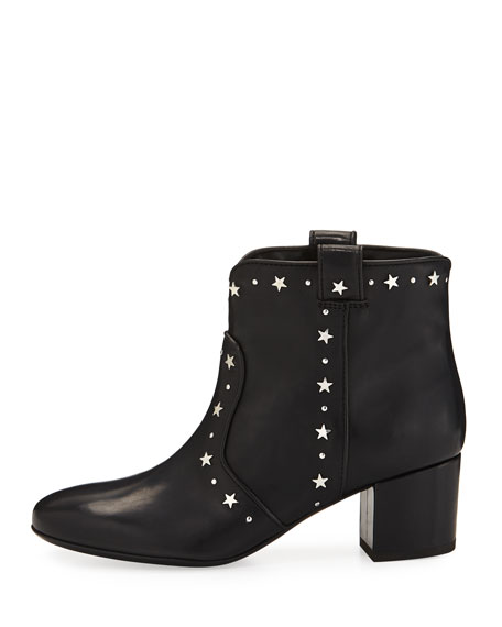 Belen Star-Studded Leather Booties, Black