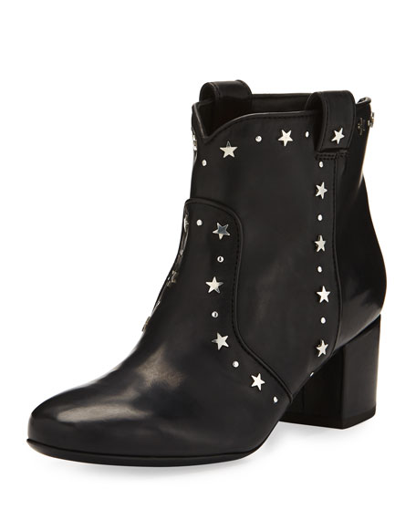 Laurence Dacade Belen Star-Studded Leather Bootie, Black