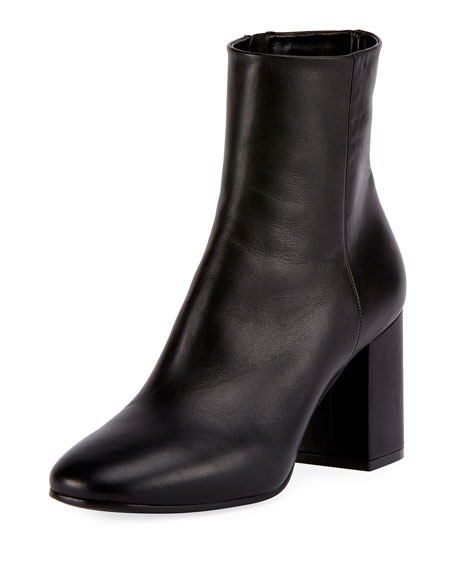 Leather Block-Heel Ankle Boots, Black