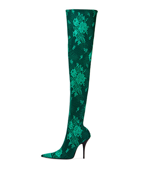 Floral Lace Over-The-Knee Boot, Vert