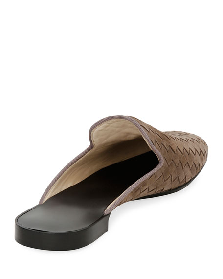 Flat Woven Leather Mule