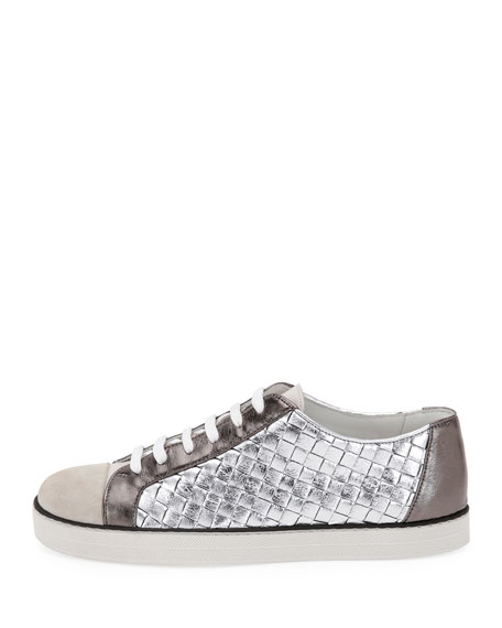 Metallic Woven Low-Top Lace-Up Sneaker, Silver