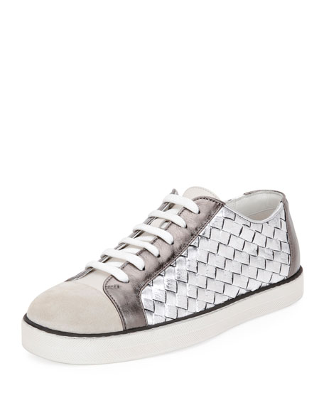 Bottega Veneta Metallic Woven Low-Top Lace-Up Sneaker, Silver