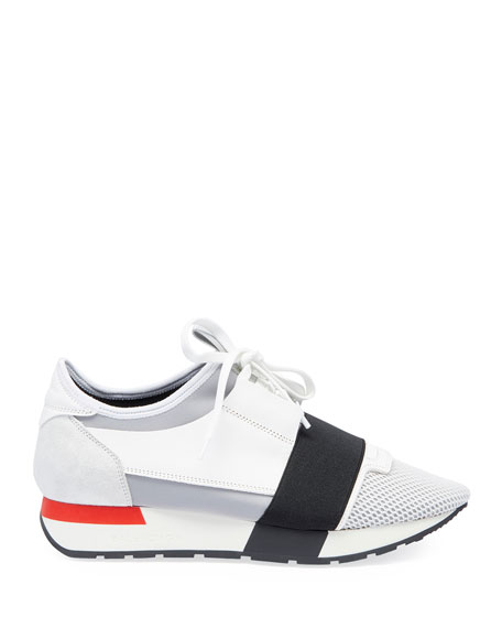 Mesh & Leather Sneakers, White/Black/Gray