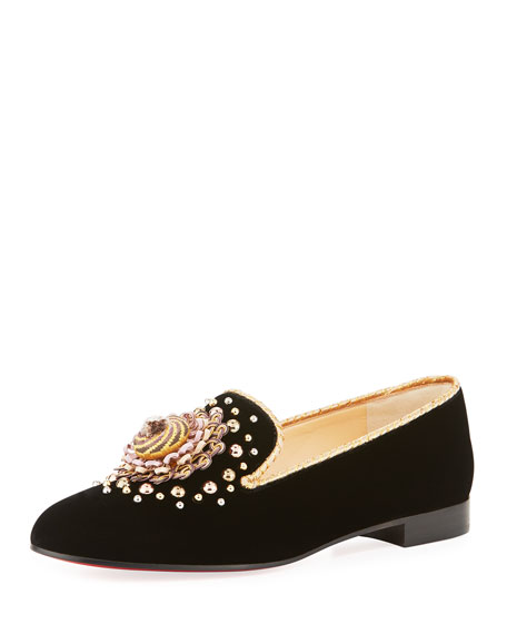 Christian Louboutin Museo Velvet Red Sole Smoking Loafer