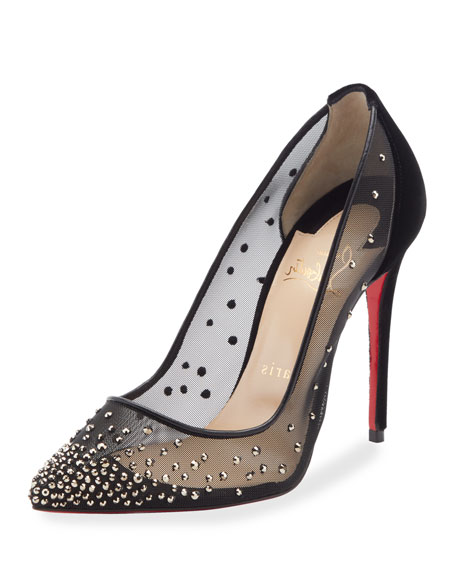 Christian Louboutin Follies Strass-Embellished Red Sole Pumps