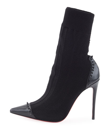 Dovi Dova Knit Red Sole Booties, Black