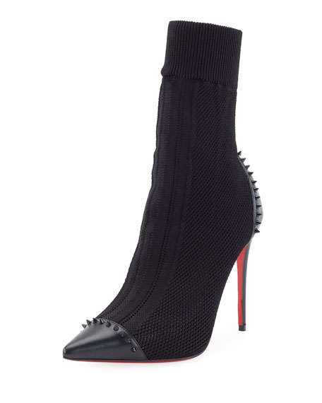 Image 1 of 5: Dovi Dova Knit Red Sole Booties, Black