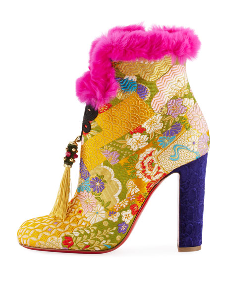 May Wong Brocade Fur-Trim 100mm Red Sole Bootie