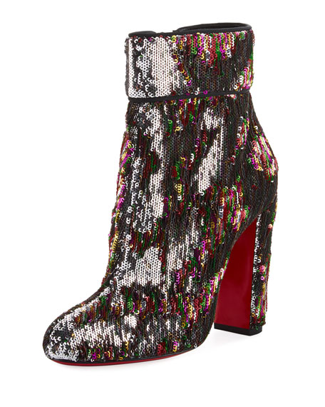 Moulamax Sequined 100mm Red Sole Bootie, Silver