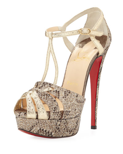 Glennalta Glitter T-Strap 150mm Red Sole Sandal, Brown