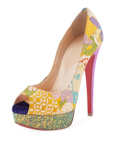 Lady Peep Embroidered Red Sole Pump