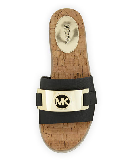 MICHAEL Michael Kors Warren Saffiano Cork Slide Flat Sandal