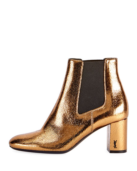 Saint Laurent LouLou Metallic Ankle Boots, Bronze