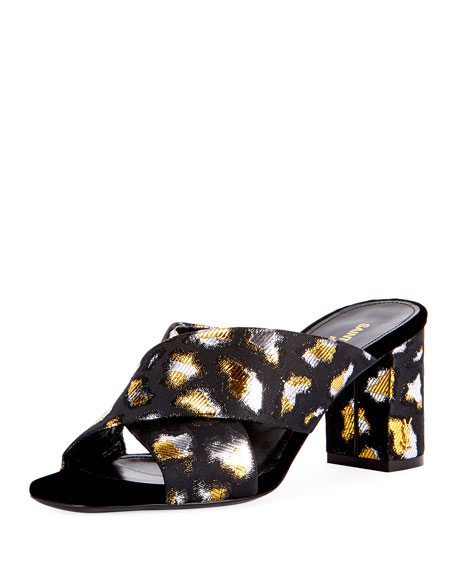 Saint Laurent LouLou Metallic Leopard Jacquard Slide Sandal,