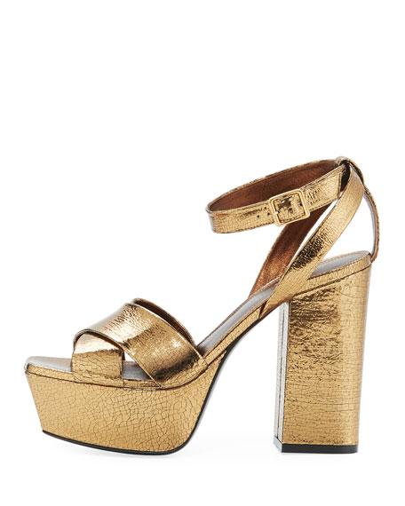 Farrah Crackled Metallic  Leather Platform Sandal, Bronze