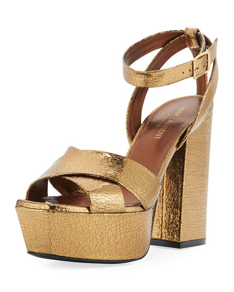 Farrah Crackled Metallic  Leather Platform Sandal, Bronze