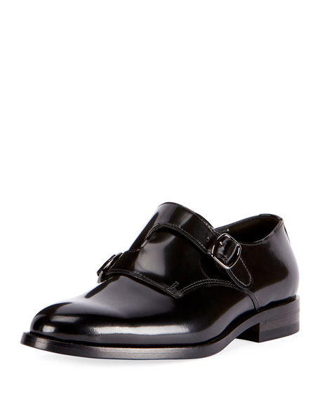 Saint Laurent Dare Eli Patent Leather Monk-Strap Loafer,