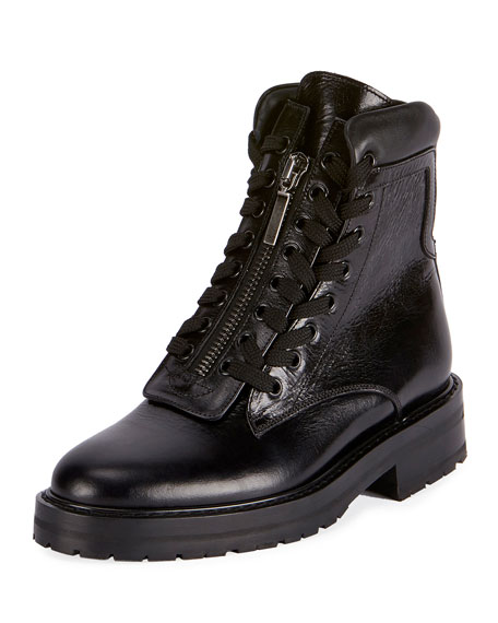 Saint Laurent William Double-Laced Combat Boot, Black