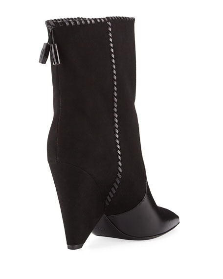 Niki Mixed Leather Mid-Calf Boot, Black